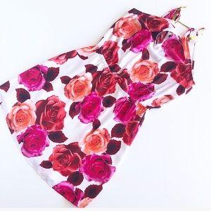 bebe Dresses - Bebe pink floral dress with gold necklace